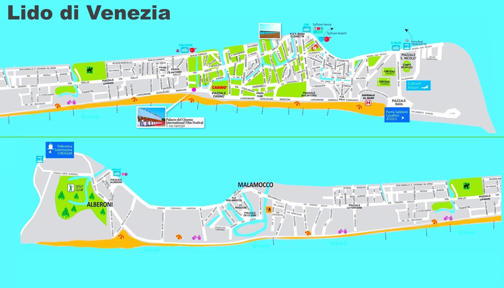 Cartina Venezia Lido.Venecijos Lido Zemėlapis Zemėlapis Lido Venecija Italijoje